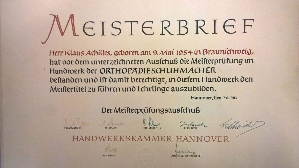 Klaus Achilles - Orthopädie Schuhmacher Meisterbrief 1983